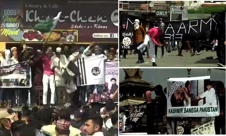 Separatists rally in Jammu and Kashmir in support of Terrorism, ఉగ్రవాదులకు మద్దతుగా భారీ ర్యాలీ