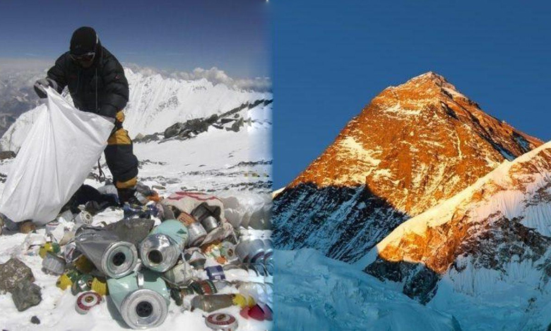 Four bodies, 11 Tonnes of rubbish collected in Everest Clean-Up, చెత్త నిండిన ఎవరెస్ట్.. ప్రక్షాళనే బెస్ట్
