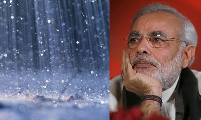 Narendra Modi- Rains, వరుణ దేవుడితో మోదీ 'చెట్టపట్టాల్'..!
