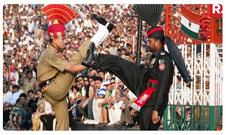 Beating retreat ceremony at the Attari-Wagah border on the eve of Independence day