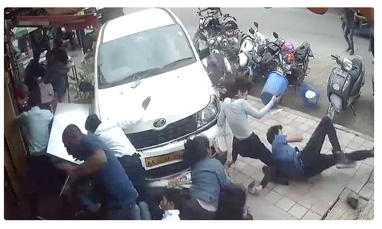 Horrific video shows drunk driver running over 6-7 pedestrians on Bengaluru footpath