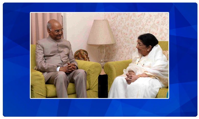 President of India, Ramnath Kovind pays a visit to Lata Mangeshkar at her Mumbai residence