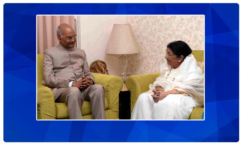 President Ram Nath Kovind meets legendary singer Lata Mangeshkar at her residence