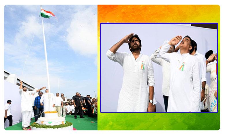 Pawan Kalyan Flag hoisting in Janasena Party Office, జెండా ఎగురవేసిన పవన్ కల్యాణ్