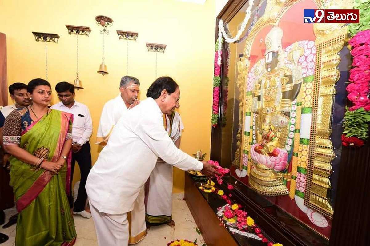 KCR Vists Roja Home, నగరిలో సీఎం కేసీఆర్కి ఎమ్మెల్యే రోజా స్వాగతం ఫొటోస్