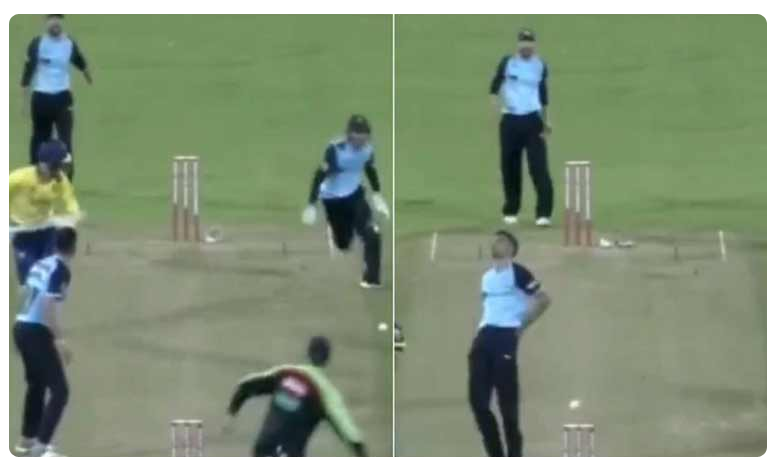 Vitality Blast T20:Wicketkeeper hilariously hits bowler Keshav Maharaj while attempting run out, ఈ కీపర్ త్రో చూడండి… ఎంత ఫన్నీగా ఉందో!