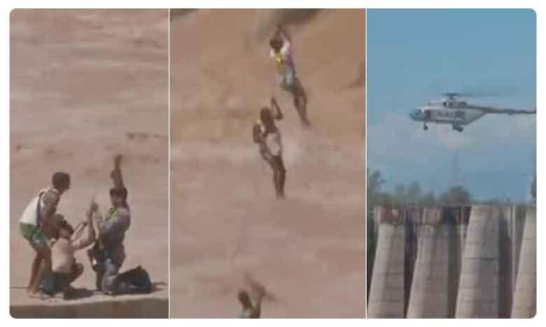 Jammu & Kashmir : Two persons rescued after getting stuck in Tawi river, హ్యాట్సాఫ్ టు.. ఇండియన్ ఆర్మీ.. వీడియో