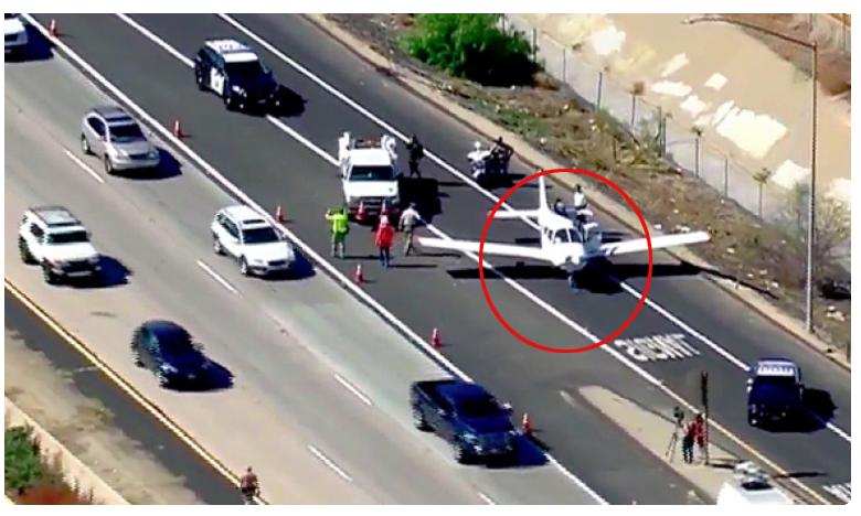 Plane makes emergency landing on busy US highway, హైవేపై ల్యాండ్ అయిన బుల్లి విమానం.. ఎక్కడో తెలుసా..?