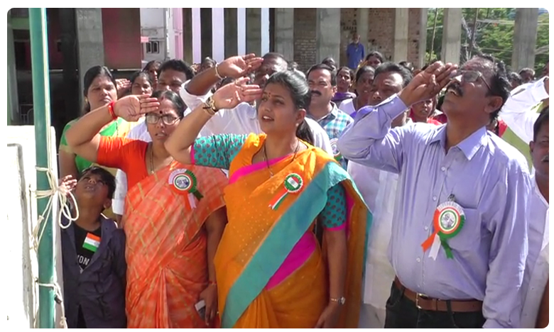 MLA Roja Flag Hoisting At Nagari