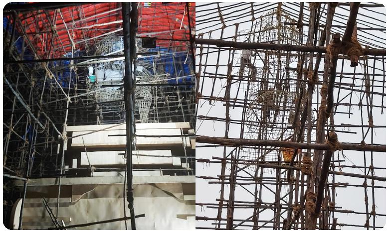 A huge statue of Lord Ganesh collapsed due to heavy Rainfall in Visakhapatnam, విశాఖలో కూలిన గణపయ్య భారీ విగ్రహం..!