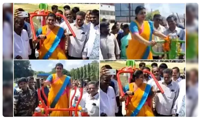 Nagari MLA Roja Work Outs Message To Youngsters, రోజా వర్కవుట్స్.. వ్యాయామం చేయాలంటూ యువతకు సందేశం..