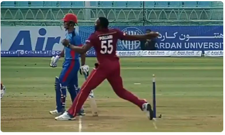 Kieron Pollard forces umpire to change no-ball decision in West Indies vs Afghanistan game, నోబాల్ని కాస్త డెడ్ బాల్ చేశాడు.. వీడియో చూస్తే  వావ్ అనాల్సిందే..