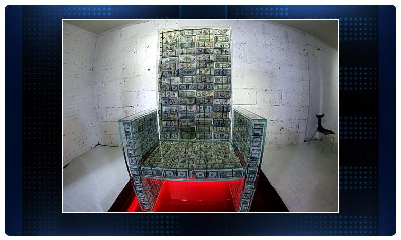 'Money throne x10 is a chair made, డాలర్స్ కట్టలతో కుర్చీ..చూసి మురిసిపోవలసిందే..